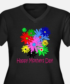 Mothers Day Women's Plus Size V-Neck Dark T-Shirt