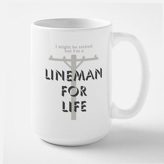 Retired Lineman Large Mug