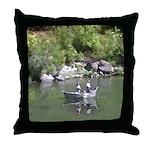 Drift Fishermen Rogue River Throw Pillow