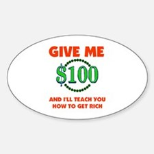 GET RICH QUICK Oval Decal