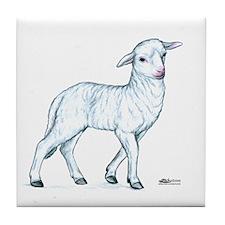 Little White Lamb Tile Coaster