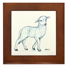 Little White Lamb Framed Tile