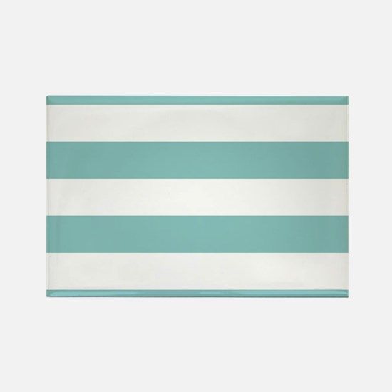 Chalky Blue Horizontal Stripes Rectangle Magnet