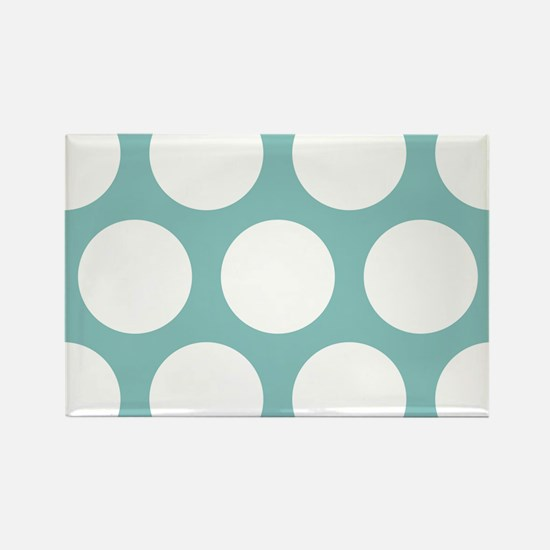 Chalky Blue Large Polka Dots Rectangle Magnet