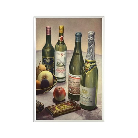 Vintage Wine, Fruit and Chocolate Rectangle Magnet