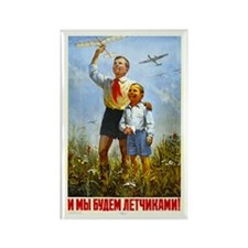 We Will Be Pilots Vintage Russian Rectangle Magnet
