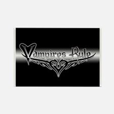 Vampires Rule B&W Mystic Rectangle Magnet