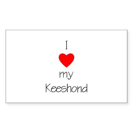 I Love My Keeshond Rectangle Sticker