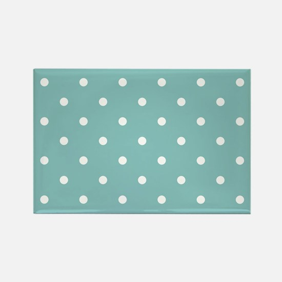 Chalky Blue Small Polka Dots Rectangle Magnet