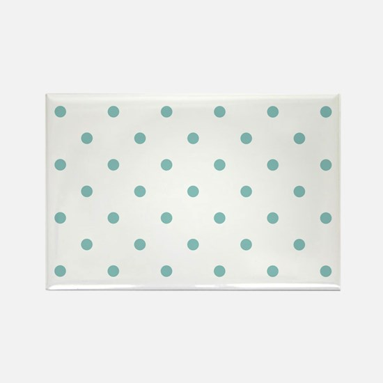 Chalky Blue Small Polka Dots (Rev Rectangle Magnet