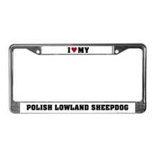 I Love My Polish Lowland Sheepdog License Plate