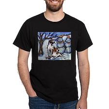 POINTER Xmas snowman design Black T-Shirt