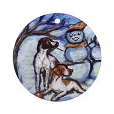 POINTER Xmas snowman design Ornament (Round)