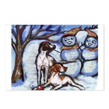 POINTER Xmas snowman design Postcards (Package of