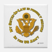 Army Sister-in-Law Gold Tile Coaster