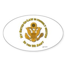 Army Sister-in-Law Gold Oval Decal
