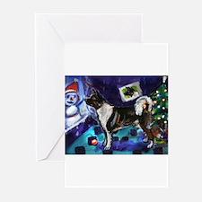 Akita snowman xmas Greeting Cards (Pk of 10)