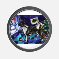 Akita snowman xmas Wall Clock