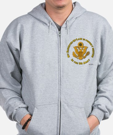 Army Daughter-in-Law Gold Zip Hoodie