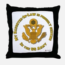 Army Daughter-in-Law Gold Throw Pillow