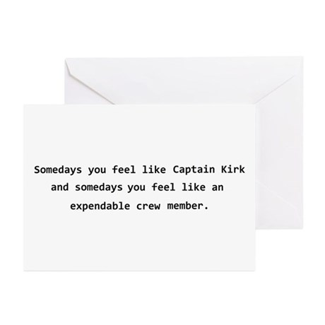 Captain Kirk expendable crew Greeting Cards (Pk of