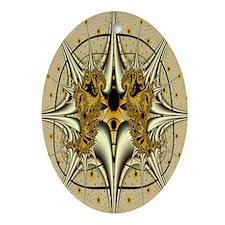 """Mask"" Fractal Art Oval Ornament"