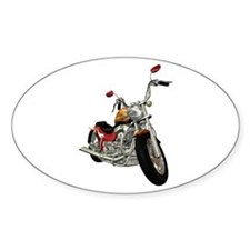 Red Motorcycle Oval Decal