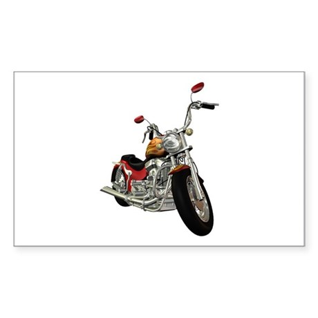 Red Motorcycle Rectangle Sticker