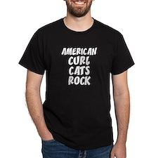 AMERICAN CURL CATS ROCK Black T-Shirt