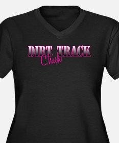 Dirt Track Chick Women's Plus Size V-Neck Dark T-S
