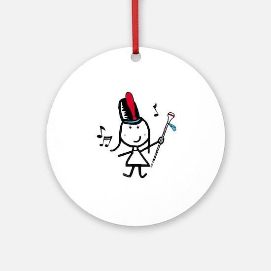 Girl & Drum Major Ornament (Round)
