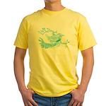 Old Line Drawing Bird Yellow T-Shirt