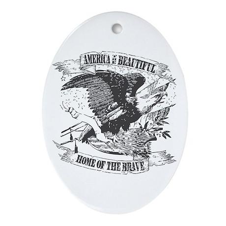 America the Beautiful Oval Ornament