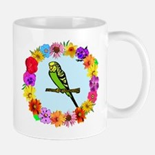 Parakeet in Flower Frame Mug