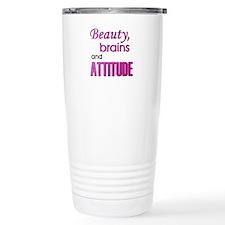 Beauty Brains and Attitude Travel Mug