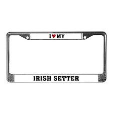 I Love My Irish Setter License Plate Frame