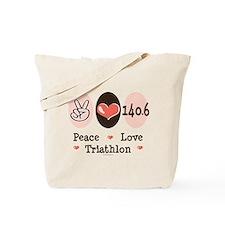 Peace Love Triathlon 140.6 Tote Bag