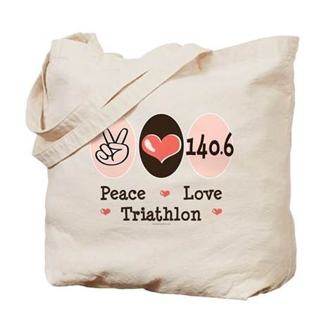 Peace Love Triathlon 140.6 Tote Bag