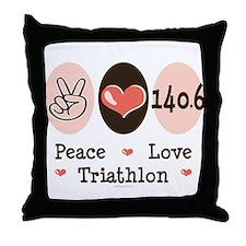 Peace Love Triathlon 140.6 Throw Pillow