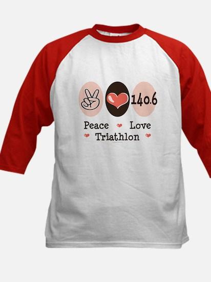 Peace Love Triathlon 140.6 Kids Baseball Jersey