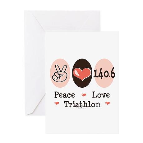 Peace Love Triathlon 140.6 Greeting Card