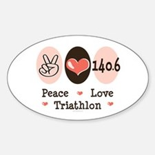 Peace Love Triathlon 140.6 Oval Decal