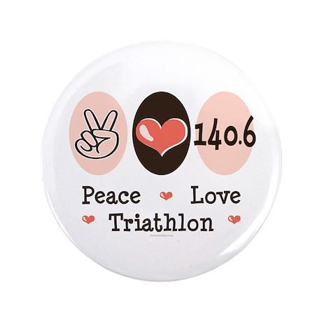 "Peace Love Triathlon 140.6 3.5"" Button (100 pack)"
