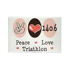 Peace Love Triathlon 140.6 Rectangle Magnet