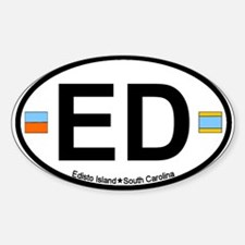 Edisto Island SC - Oval Design Oval Decal