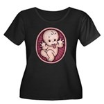 Razz Bab Women's Plus Size Scoop Neck Dark T-Shirt