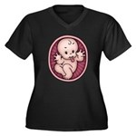 Razz Baby Women's Plus Size V-Neck Dark T-Shirt