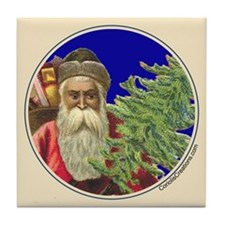Old Santa with Tree - Tile Coaster