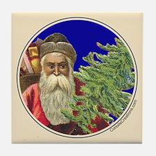 Old Santa with Tree - Tile Coaster
