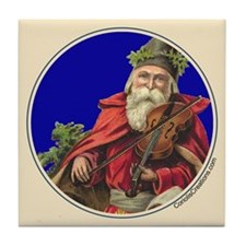 Old Santa with Violiin - Tile Coaster
